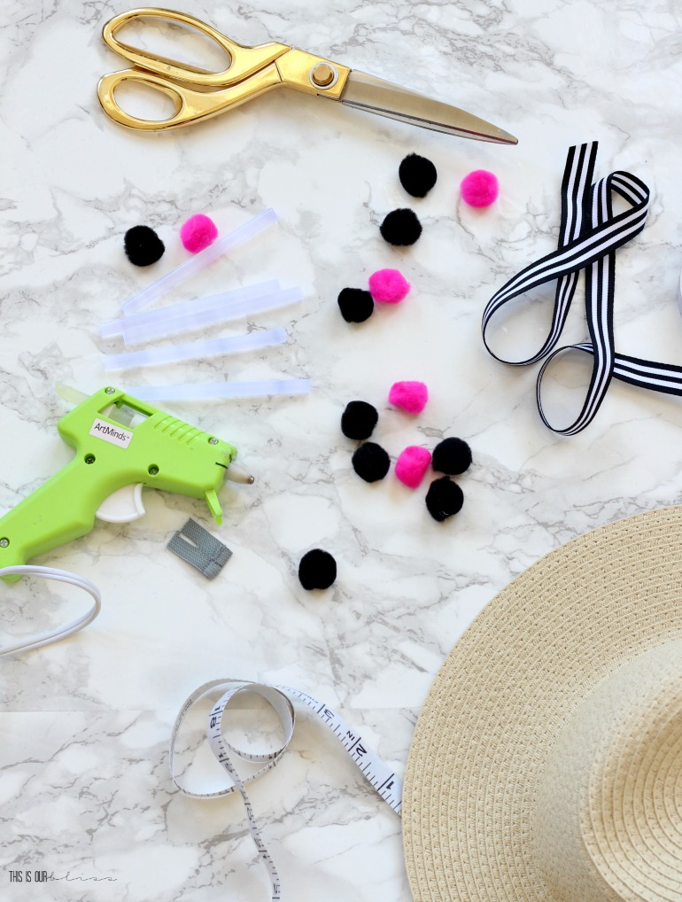 DIY Pom Pom Beach hat trim - My Dollar Store DIY - This is our Bliss