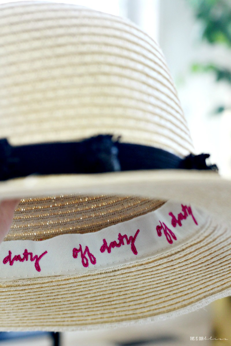 DIY Pom Pom Beach hat trim made with Dollar Tree supplies - My Dollar Store DIY - This is our Bliss