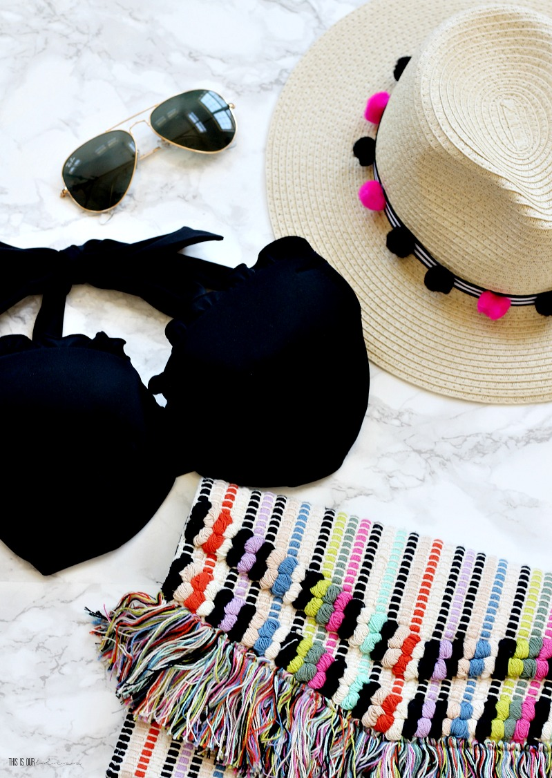 DIY Pom Pom and Stripe Beach hat trim made with Dollar Tree supplies - Stylish summer accessories - My Dollar Store DIY - This is our Bliss