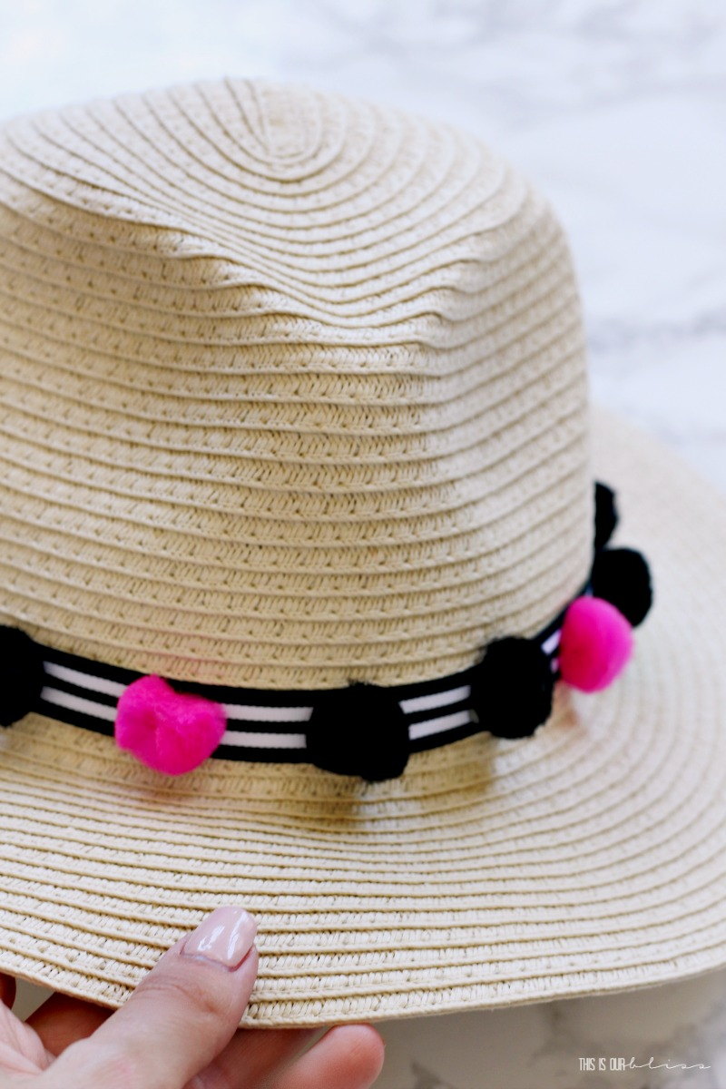 DIY Pom Pom and Stripes Beach hat trim made with Dollar Store supplies - My Dollar Store DIY - This is our Bliss