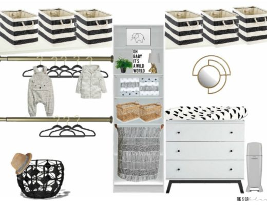 Sophisticated Neutral Nursery Closet mood board plan - Spring 2018 One Room Challenge - This is our Bliss