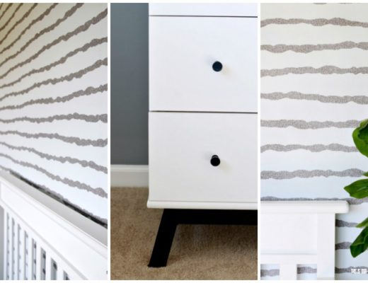 Sophisticated Neutral Nursery - Paint, wallpaper and changing table update - One Room Challenge Week 3 - This is our Bliss