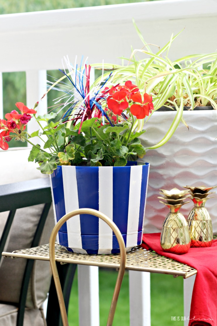 Diy Blue And White Striped Patriotic Planter Pot My Dollar Store