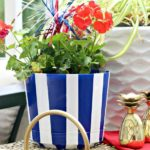 DIY Dollar Store Blue and White Striped Patriotic Planter Pot