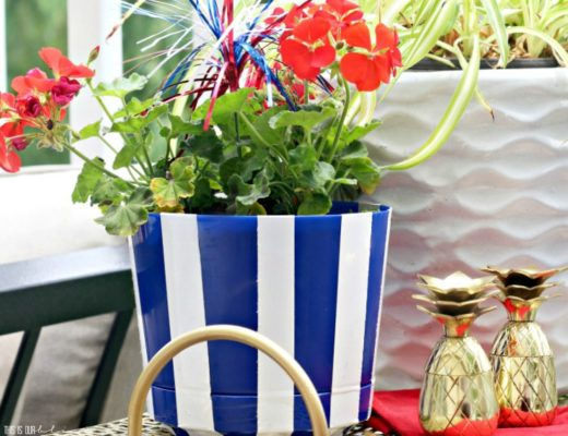 DIY Dollar Store Blue and White Striped Planter Pot | My Dollar Store DIY Series || This is our Bliss
