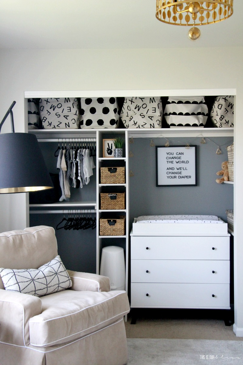Nursery Closet Storage Organization