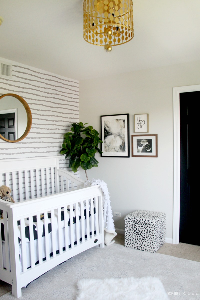 Sophisticated Neutral Nursery - Wallpaper accent wall in the