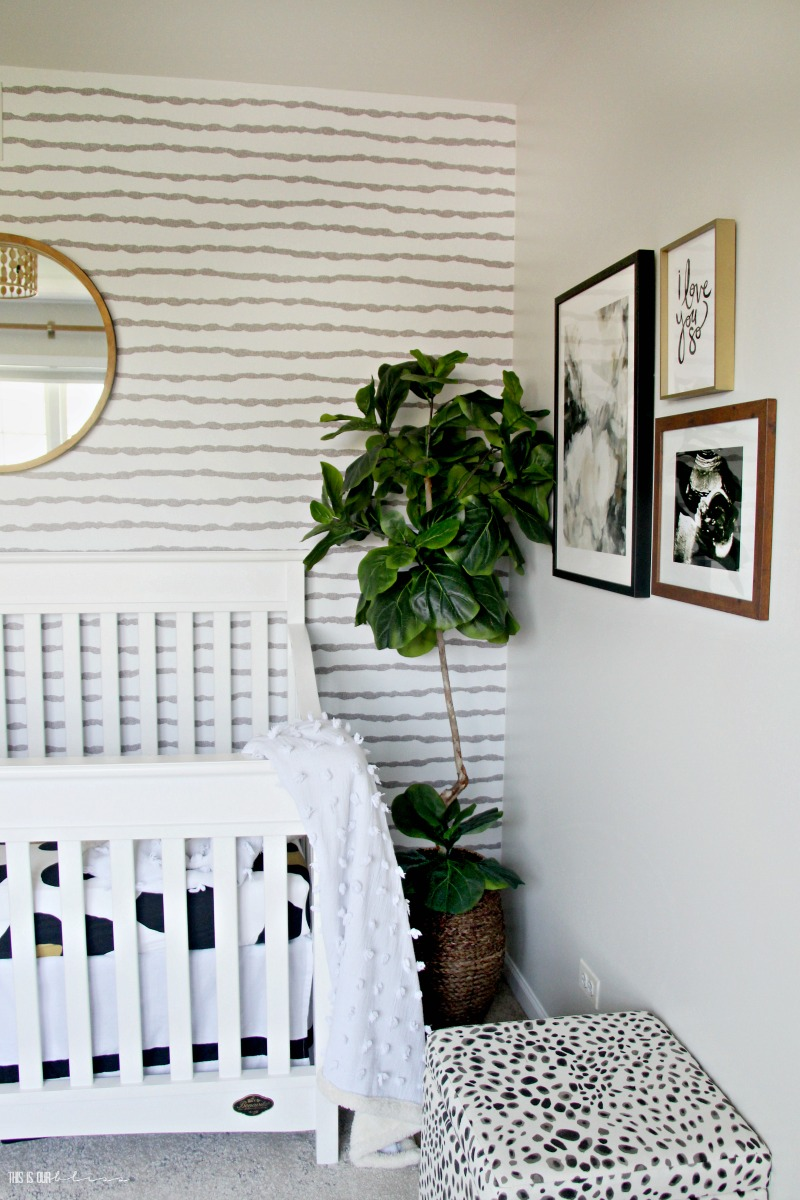 Sophisticated Neutral Nursery Wallpaper Crib Wall This Is Our Bliss