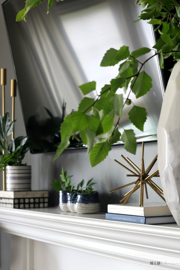 Blue and Fresh Greens Simple Summer Mantel decor - This is our Bliss
