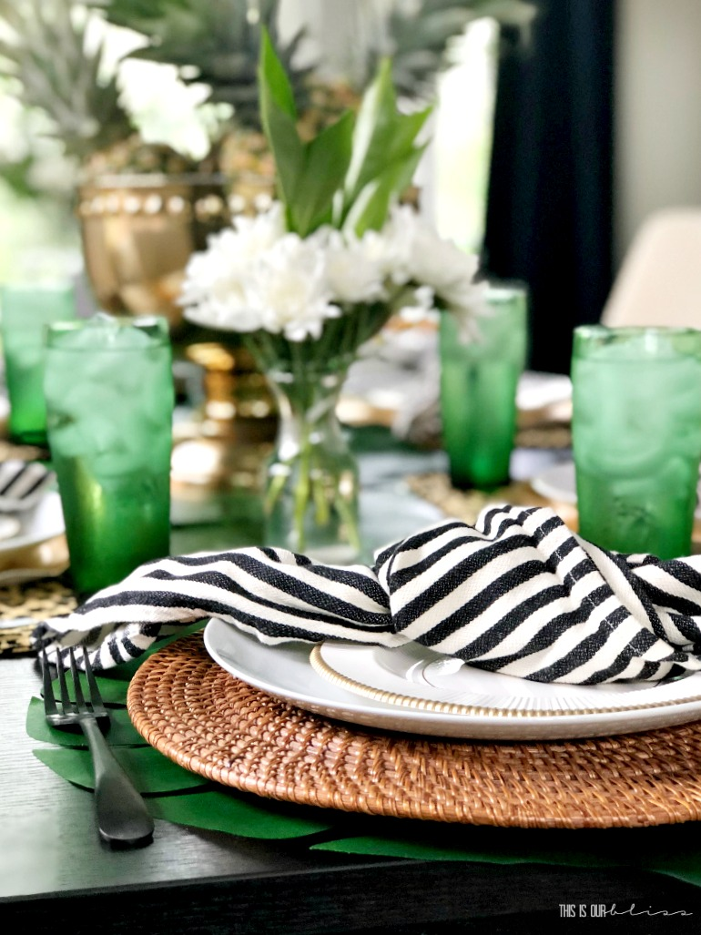 Tropical Summer Table with Pineapples, Palm Leaves and Leopard Print | Stylish Summer Entertaining || This is our Bliss