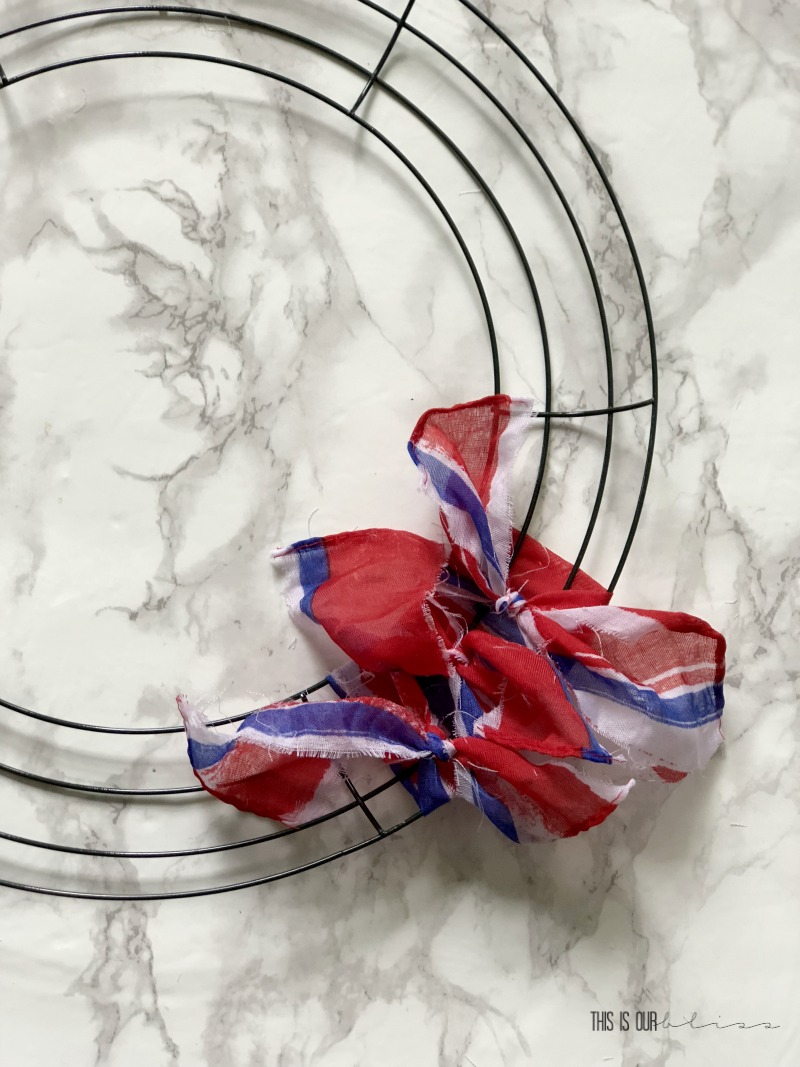 Patriotic Striped Scarf Wreath - 4th of July Wreath - DIY Patriotic Decor - This is our Bliss