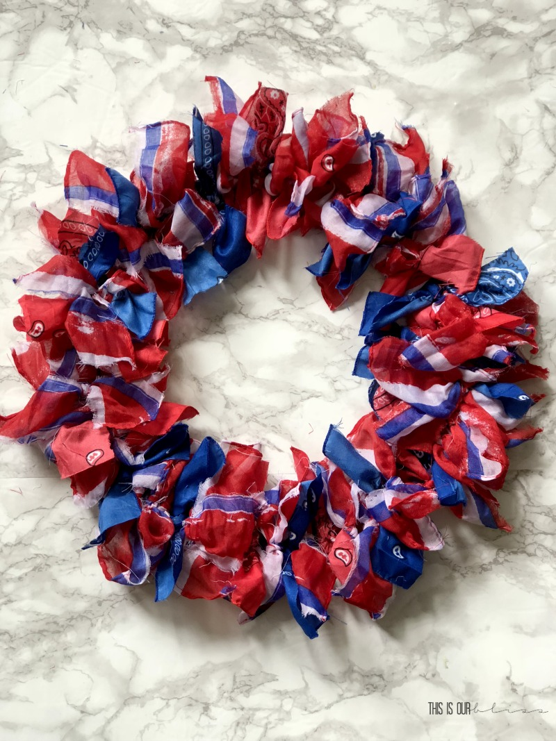 DIY Patriotic Striped Scarf Wreath - 4th of July Wreath - DIY Patriotic Decor - This is our Bliss