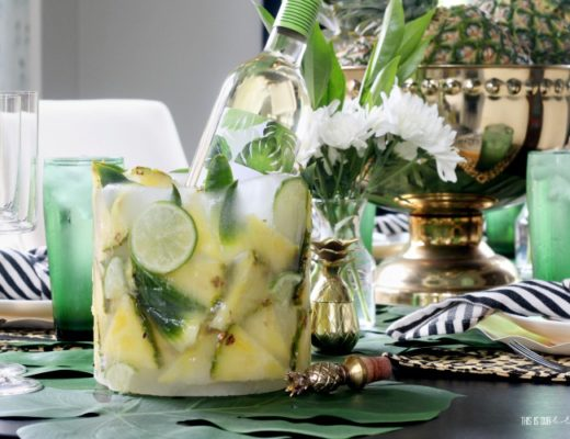 DIY Tropical Fruit Ice Mold Wine Chiller for Summer Entertaining with Pineapple pieces - This is our Bliss