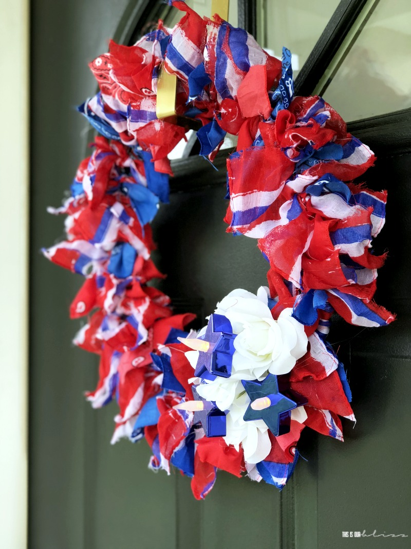 How To Make A Red White And Blue Scarf Wreath This Is