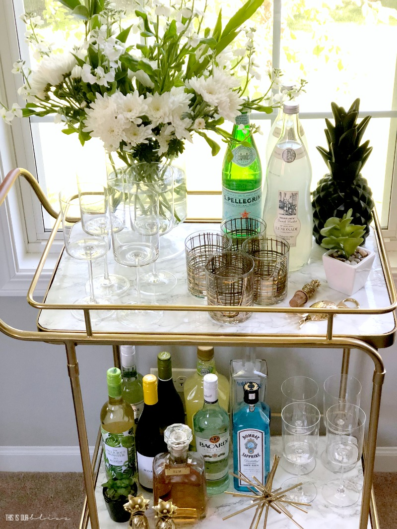 Simple and Stylish Summer Bar Cart with Green gold and a hint of Blue | This is our Bliss