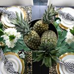 Tropical Summer Table With Pineapples, Palm Leaves & Leopard Print