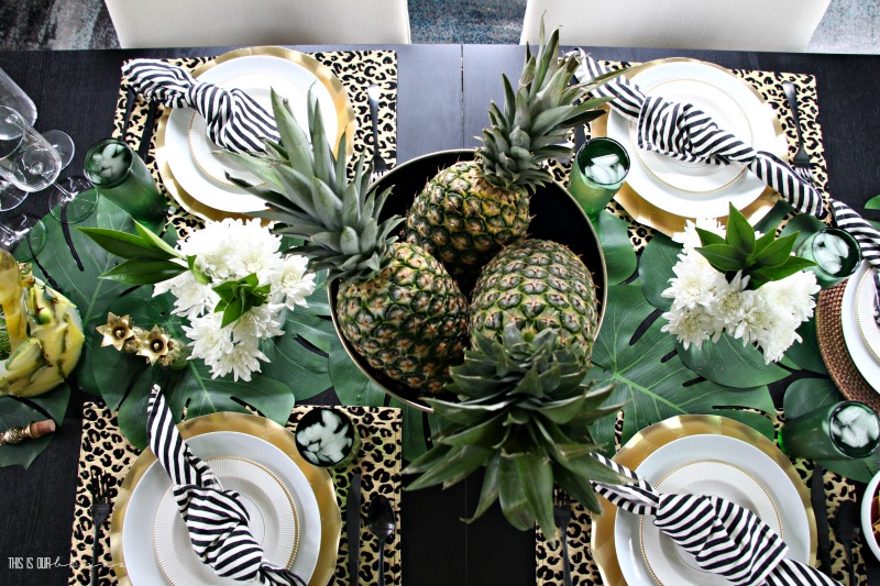 14962abcbf Tropical Summer Table with Pineapples, Palm Leaves and Leopard Print |  Stylish Summer Entertaining
