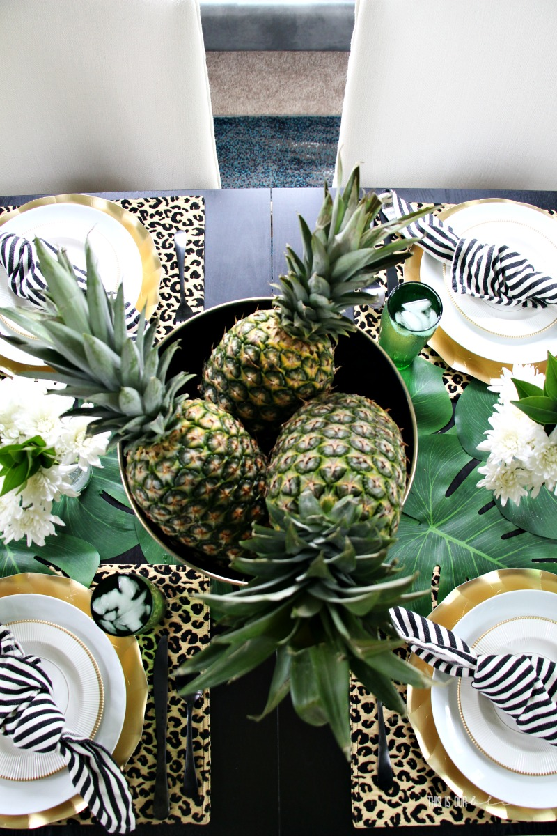 7164292b96 Tropical Summer Table With Pineapples, Palm Leaves & Leopard Print ...
