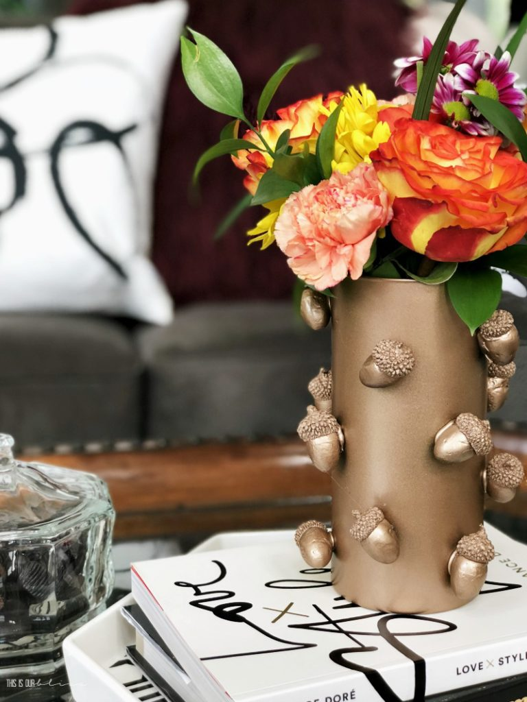 DIY Dollar Store copper acorn vase - Dollar store diy Fall decor - This is our Bliss
