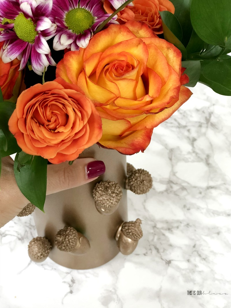Fall Decor with Dollar Store Supplies - DIY Acorn Vase - Dollar Store DIY decor with copper metallic spray paint 1 - This is our Bliss