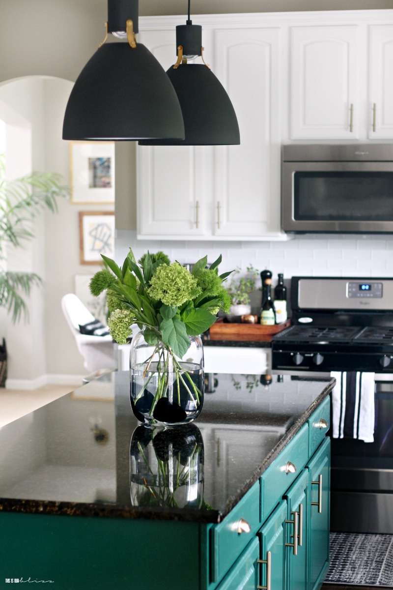 Green and White Kitchen Reveal part 2 - New black and gold kitchen lighting - This is our Bliss