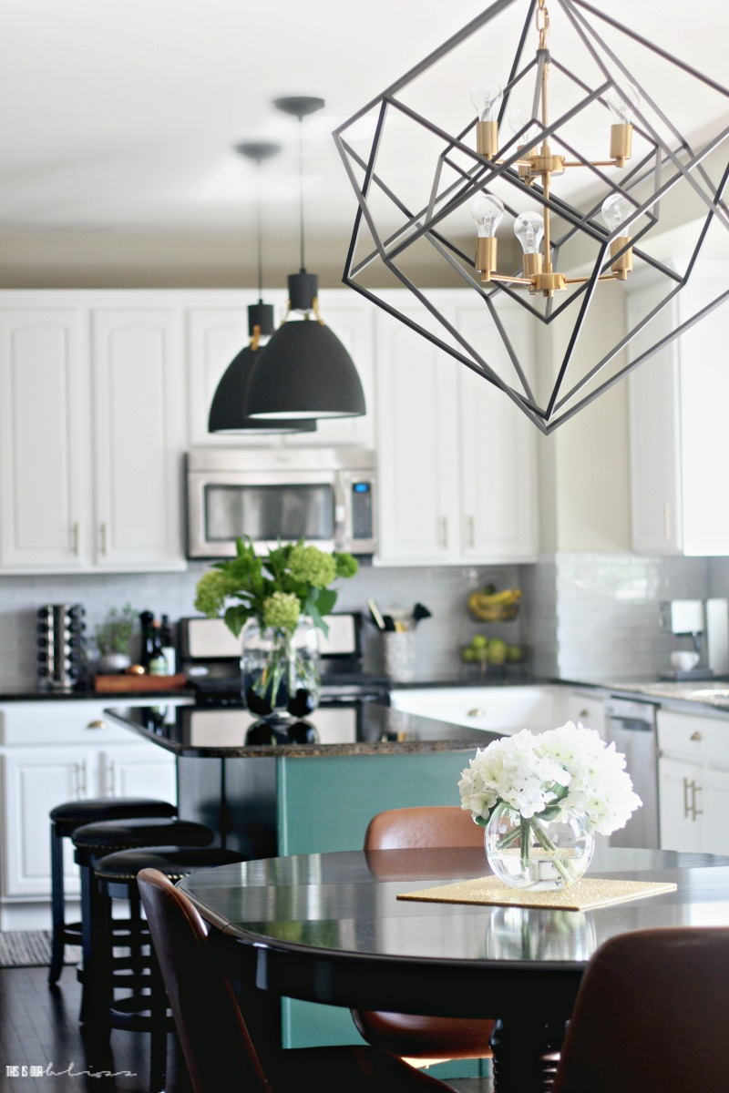Kitchen Reveal part 2 - Black and Gold Geometric Chandelier - New kitchen lighting - This is our Bliss