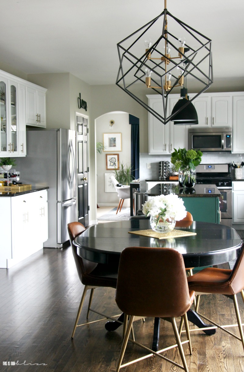 Kitchen Reveal Part 2 Black And Gold Geometric Chandelier