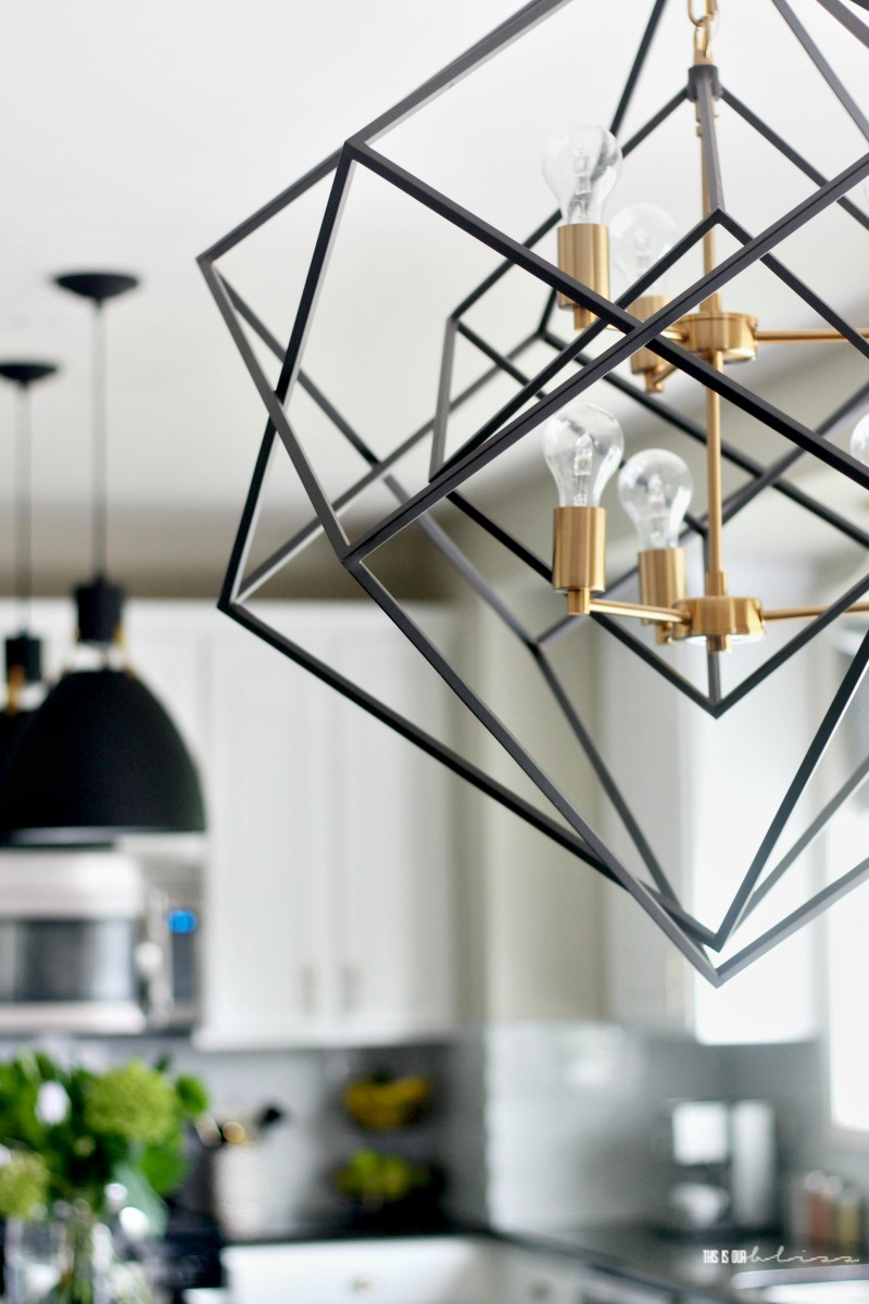 White and Green Kitchen Reveal part 2 - Black and Gold Geometric Chandelier - New kitchen lighting - This is our Bliss