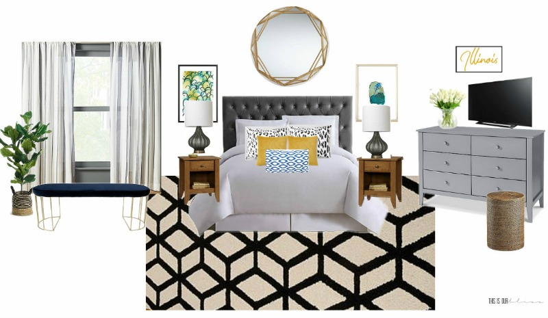 Basement Guestroom Makeover - Bedroom Moodboard - $100 Room Challenge - This is our Bliss - www.thisisourbliss.com
