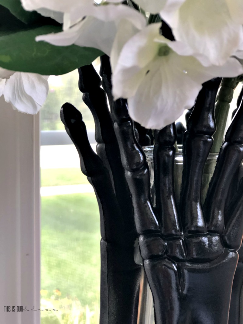 DIY Skeleton hand vase - DIY Halloween decor - This is our Bliss