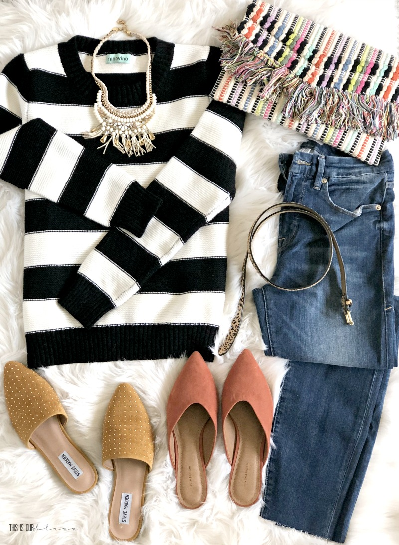 5 Outfit Ideas with a Black and White Striped Sweater - One Sweater 5 ways - Five outfit ideas for a black and white striped sweater - Fall sweater jeans and mules - This is our Bliss