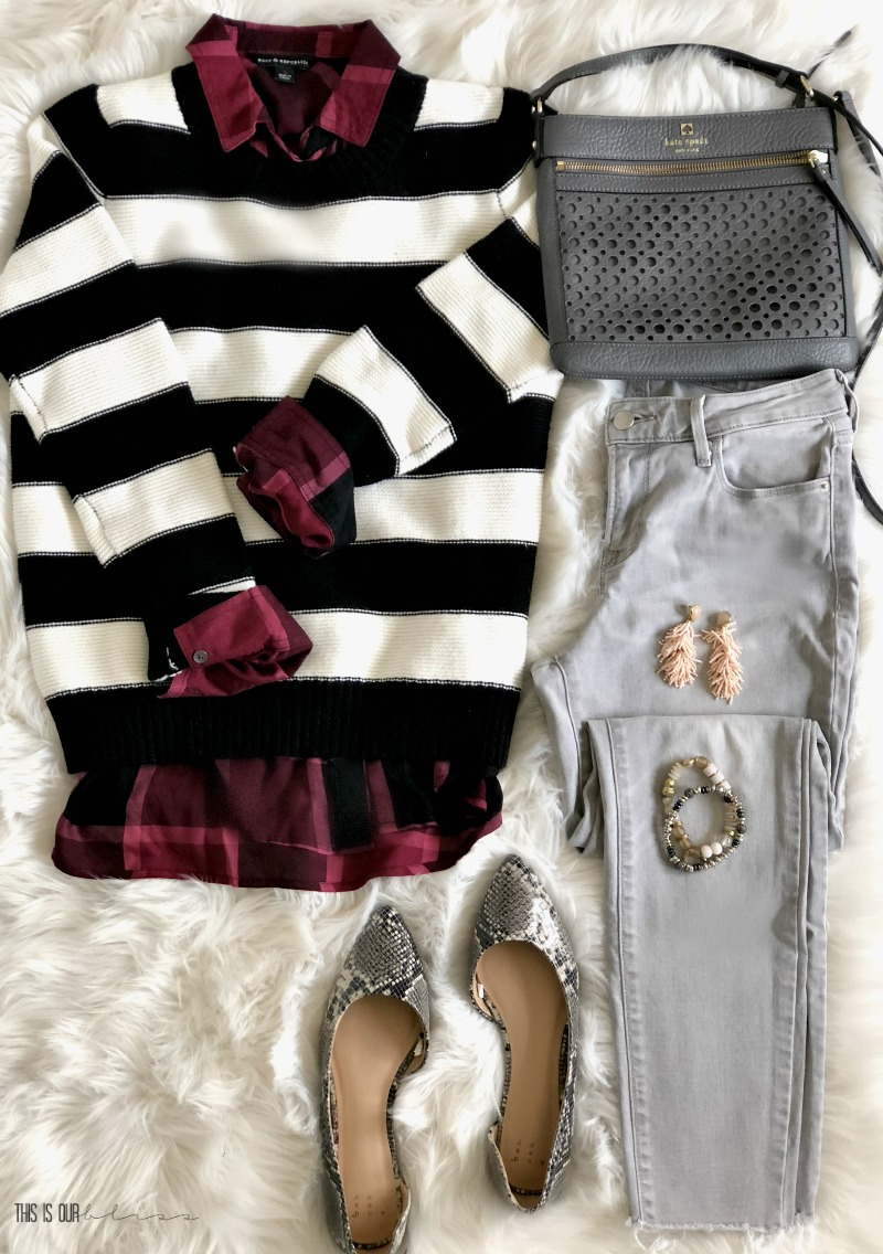 5 Outfit Ideas with a Black and White Striped - One Sweater 5 ways - Five outfit ideas for a black and white striped sweater - Striped sweater and plain blouse - This is our Bliss