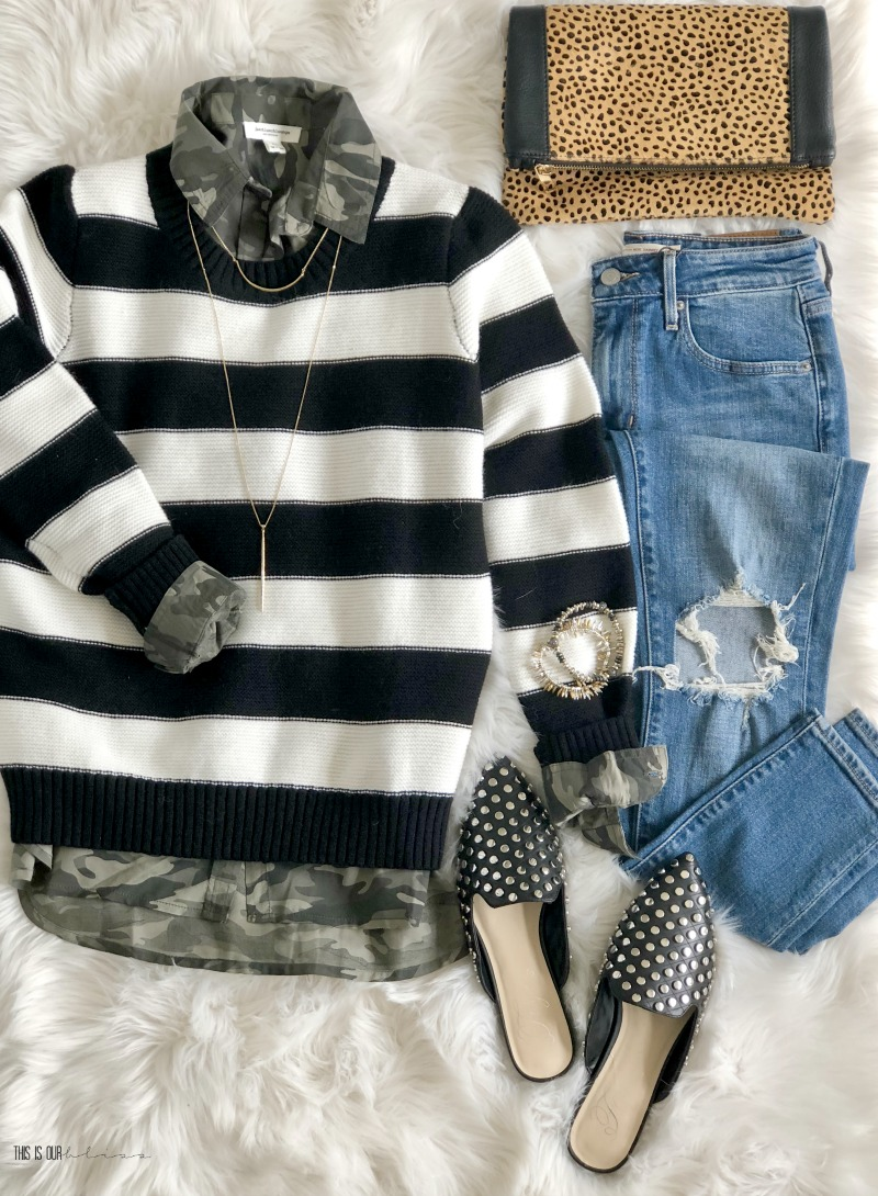 5 Outfit Ideas with a Black and White Striped Sweater - One Sweater 5 ways - Five outfit ideas for a black and white striped sweater - This is our Bliss