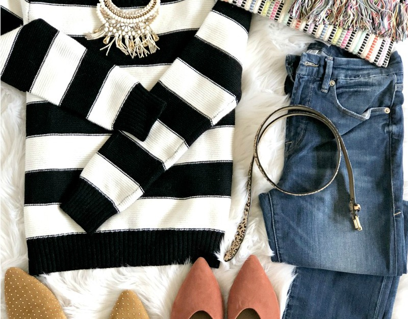 featured Black and White Striped Sweater 5 Ways - One Sweater 5 ways - Five outfit ideas for a black and white striped sweater - Fall sweater jeans and mules - This is our Bliss