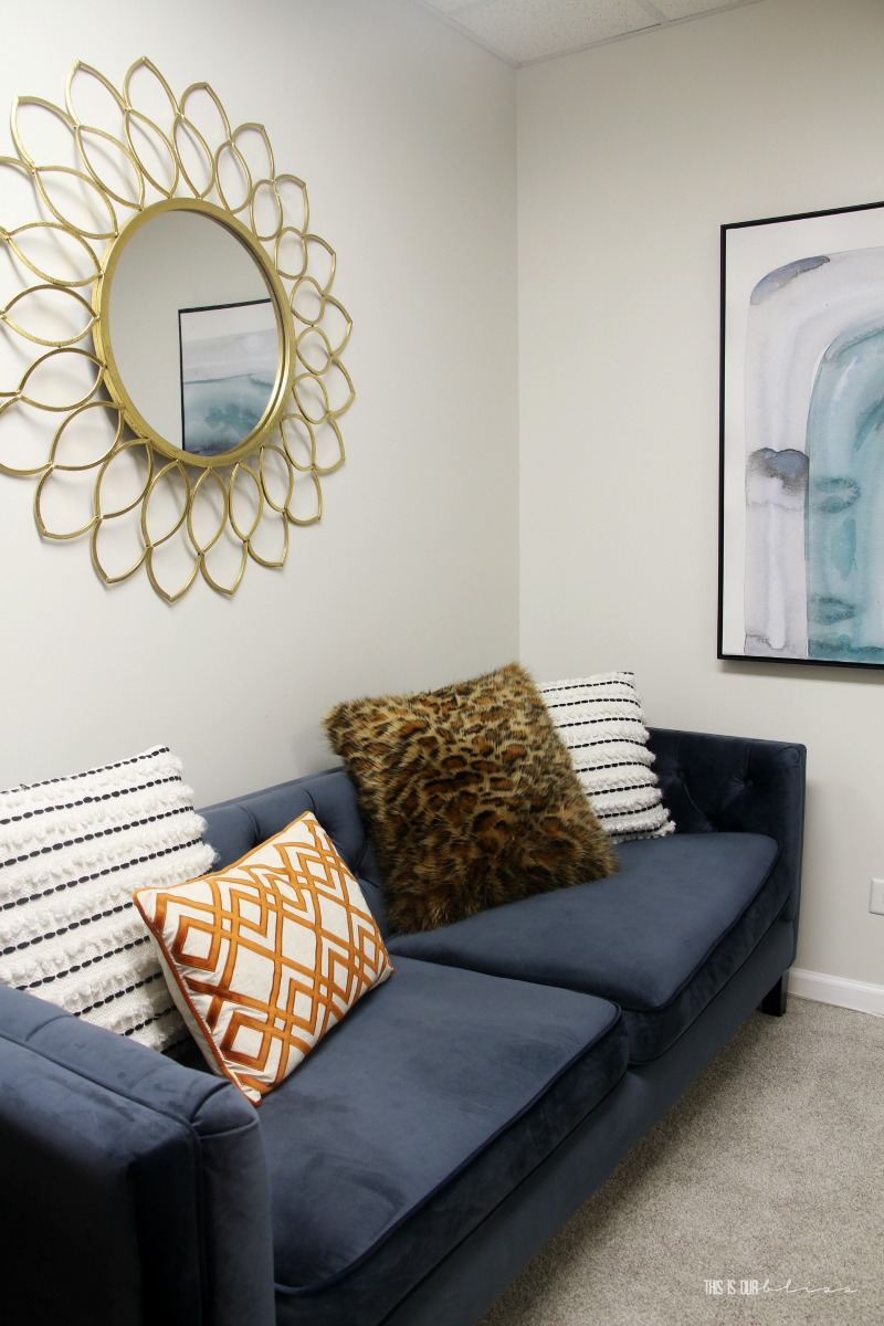 Basement Guestroom Reveal - Blue Sofa in the Bedroom - $100 Room Challenge - This is our Bliss