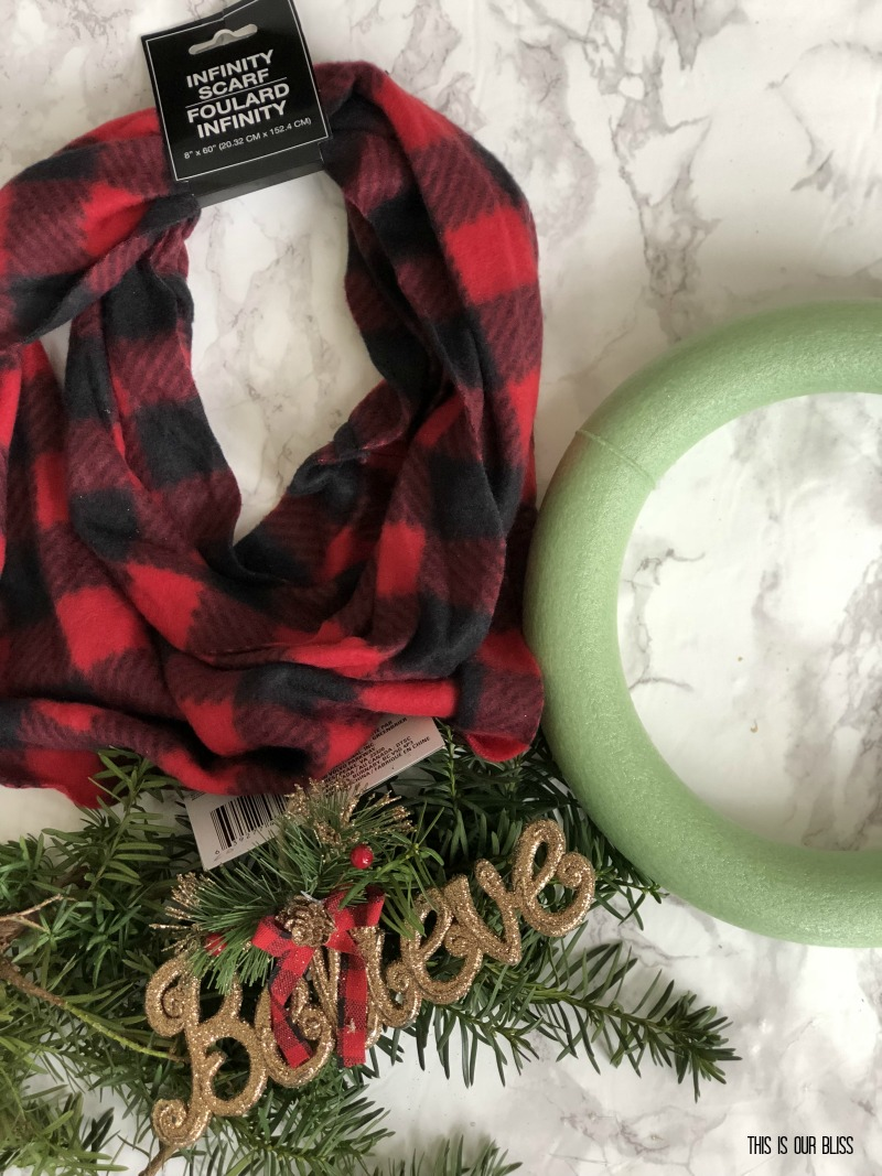 DIY Buffalo Plaid Scarf wreath - DIY dollar store Christmas decor - This is our Bliss