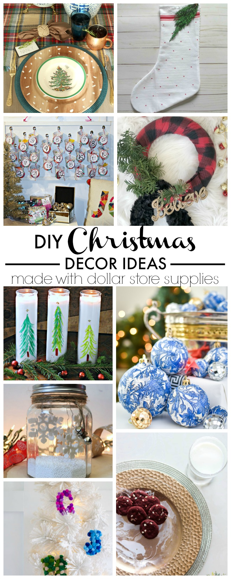 9 Holiday Decorating Ideas made with Dollar Store supplies | DIY Christmas Decor Ideas | #DollarTreeCrafts #DollarTreeDIY #DollarTreeChristmasDecor #DollarChristmasDecorIdeas #DollarChristmasDecorDIYCrafts