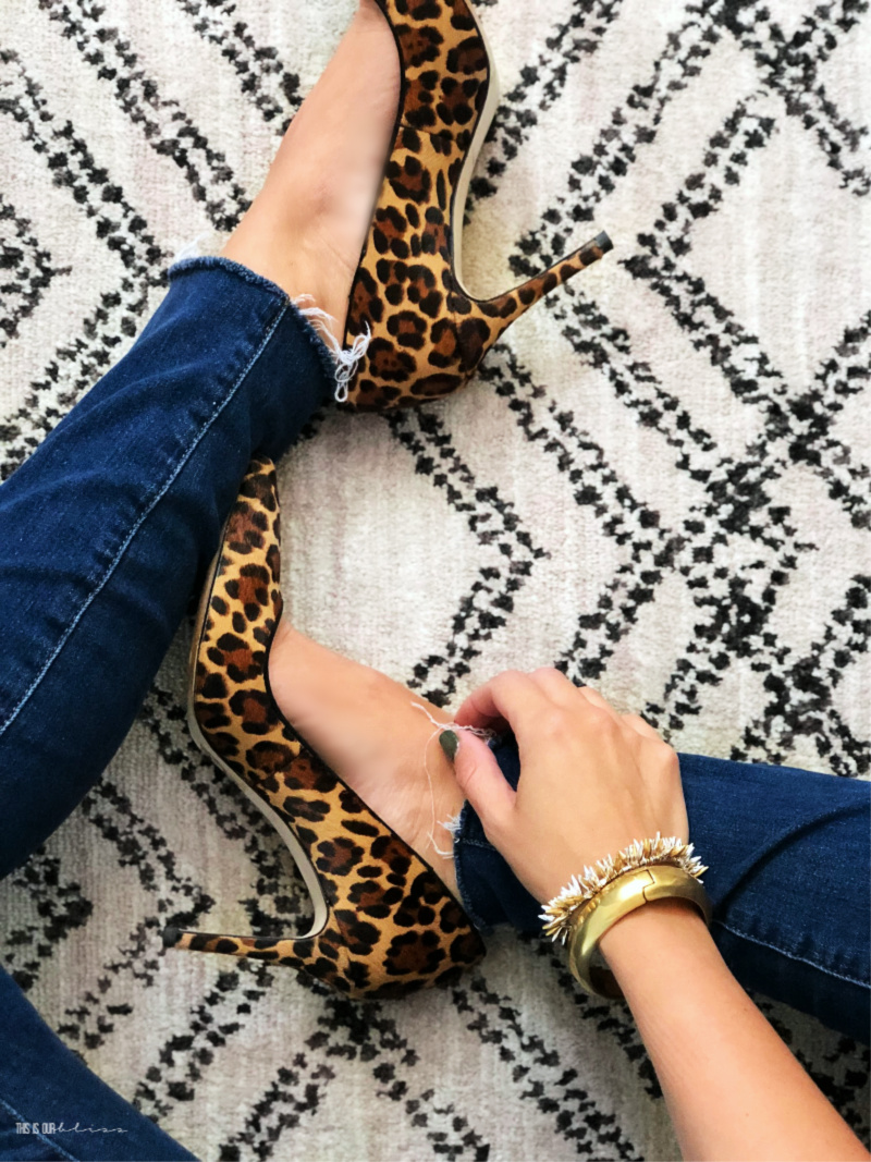 Leopard pumps with denim jeans - This is our Bliss