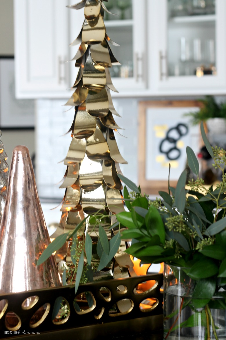 A Simply Green Christmas Kitchen with simple Metallic Tree island centerpiece - This is our Bliss