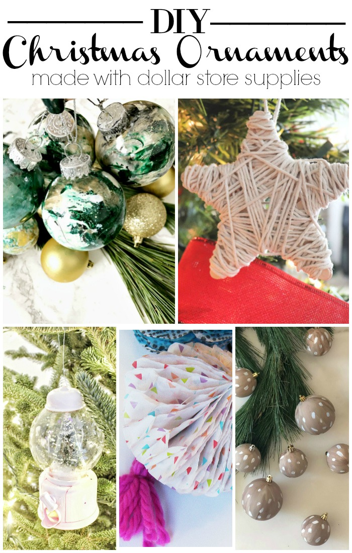 DIY Christmas Ornaments made with Dollar Store supplies - DIY Dollar Store Christmas Decor