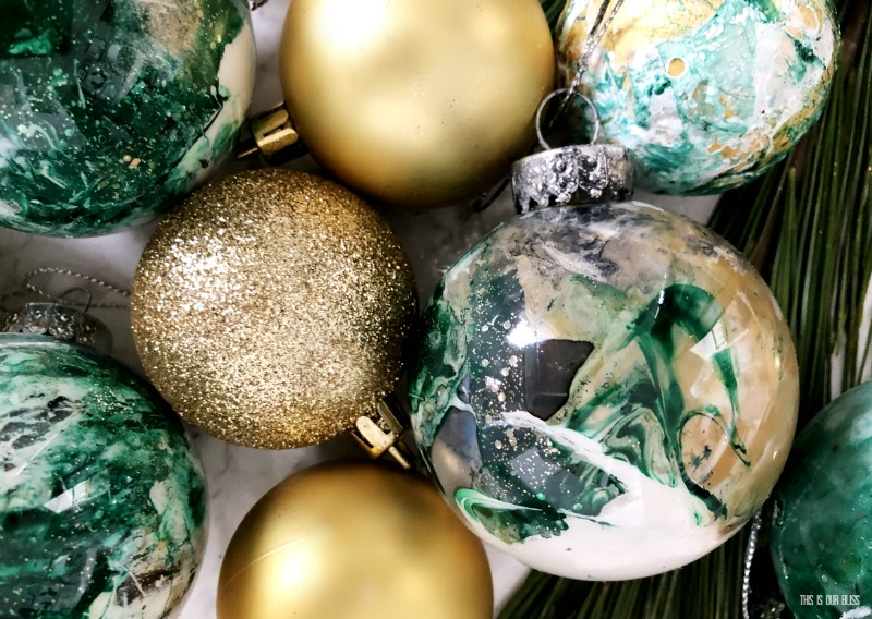 DIY Marbled Christmas Tree ornaments with paint and nail polish from Dollar Tree - This is our Bliss