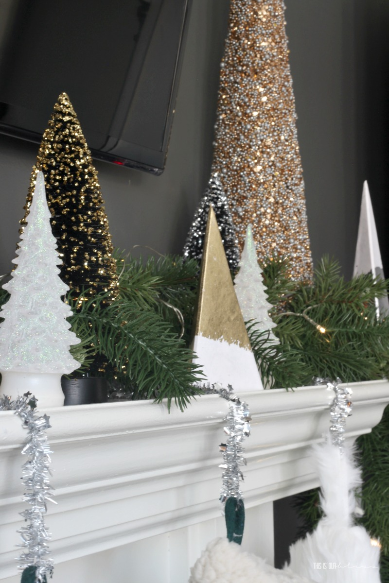 Mantel of Christmas Trees - Neutral and Metallic Christmas Family Room - This is our Bliss