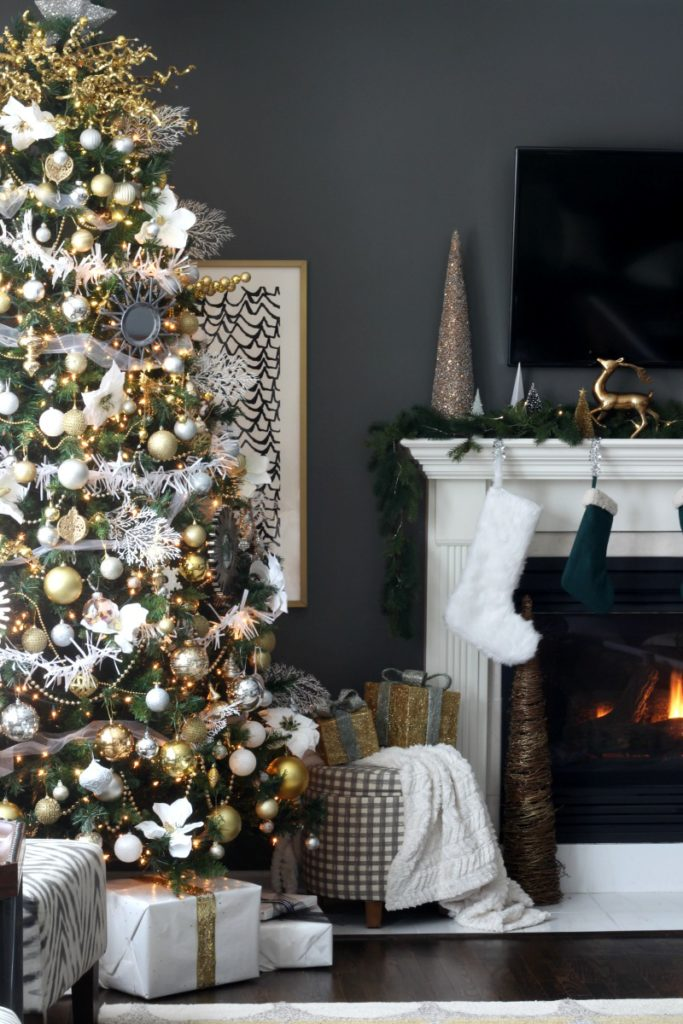 Neutral and Metallic with pops of Green Christmas Family Room - This is our Bliss