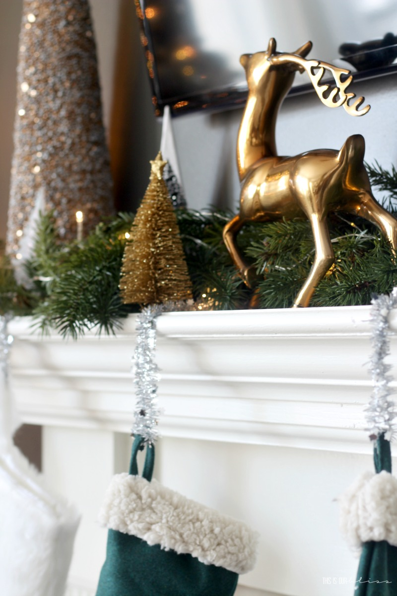 Neutral and metallic Christmas Mantel - Christmas Family Room Tour - This is our Bliss