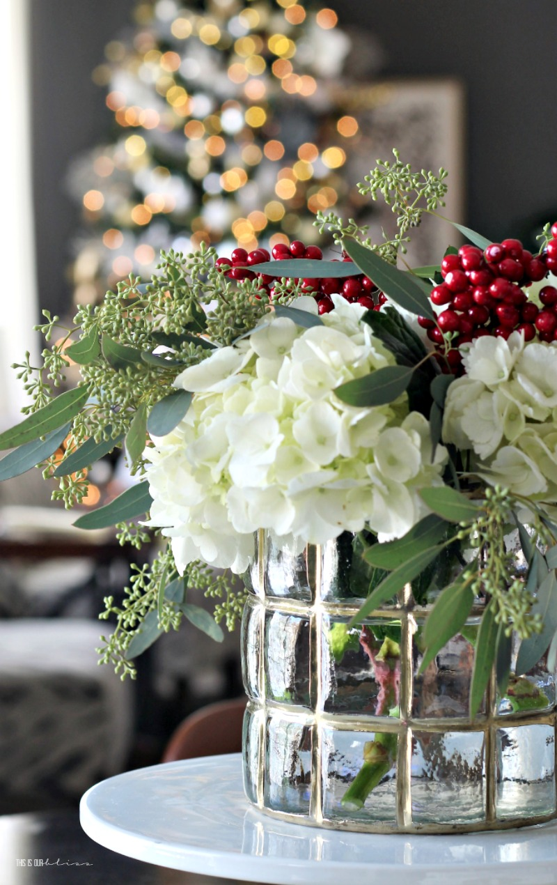 Simple Kitchen table Christmas Centerpiece - This is our Bliss
