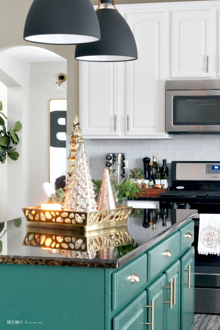Simply Green Christmas Kitchen - Simple touches to a green kitchen island - This is our Bliss