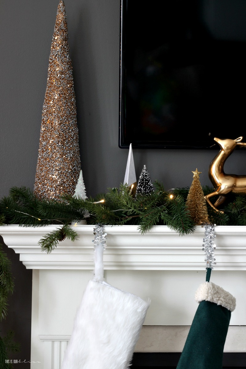This is our Bliss Christmas Mantel - Christmas Family Room Tour - www.thisisourbliss.com