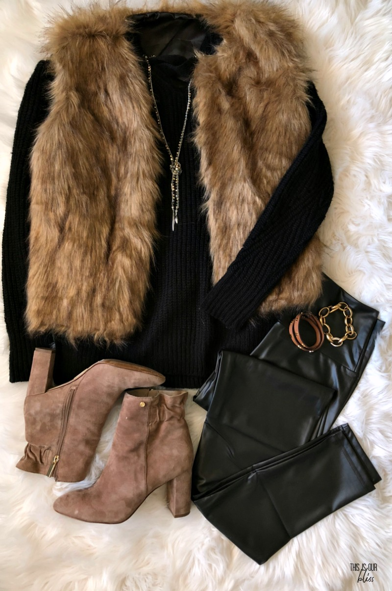 black faux leather leggings with black sweater and faux fur vest - holiday outfit ideas - This is our Bliss