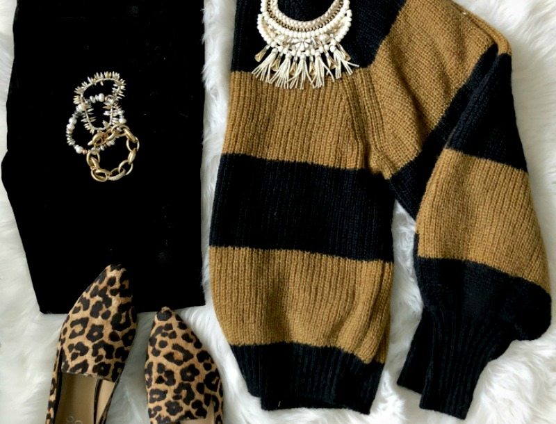 featured striped sweater leopard shoes for holiday outfit - This is our Bliss