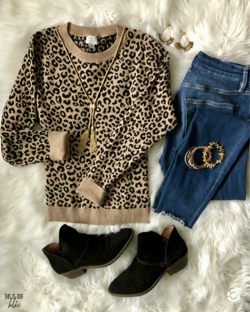 leopard sweater and jeans - simple and stylish thanksgiving outfit ideas - This is our Bliss